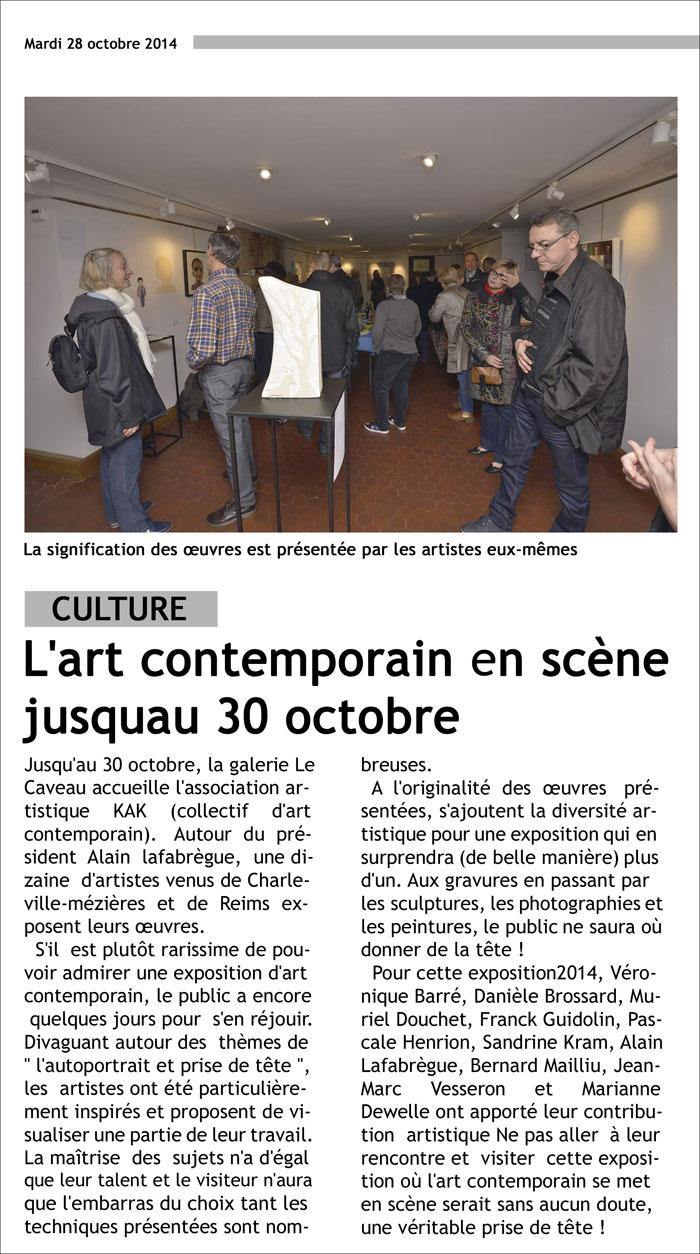 L'Union L'Ardennais Kak Exposition Franck Guidolin Artiste plasticien