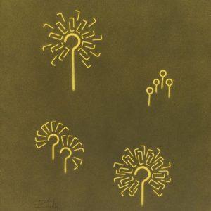 Pitongrammes n°73 - Pissenlits : Colorant sur papier - (65x50) - Œuvre unique - 2007