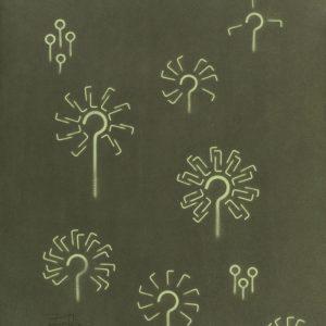 Pitongrammes n°71 - Pissenlits : Colorant sur papier - (65x50) - Œuvre unique - 2007