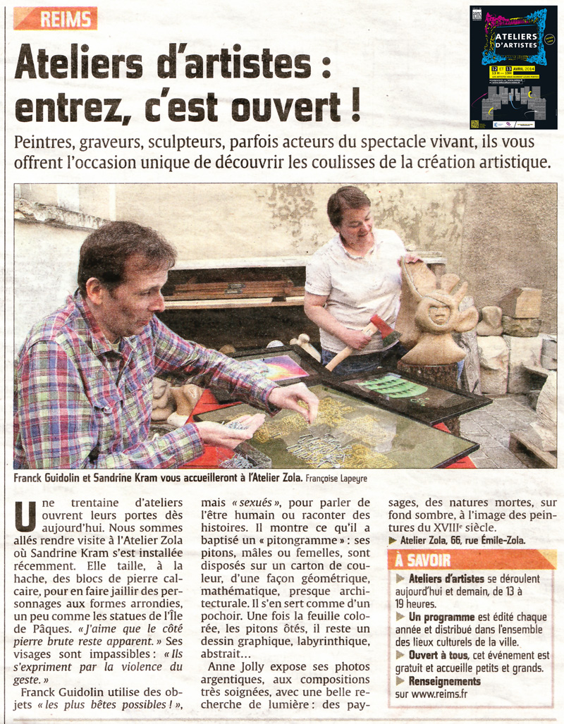 Article ateliers artistes Exposition Franck Guidolin