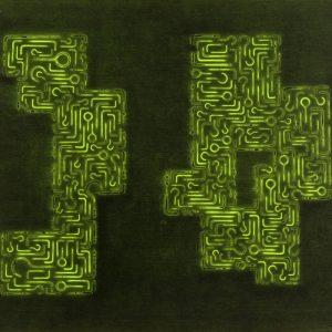 Pitongrammes n°34 - Colorant sur carton toilé - (65x54) - Œuvre unique - 2007