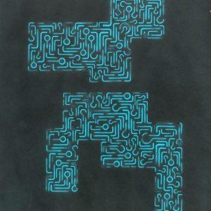 Pitongrammes n°38 - 360° -Colorant sur papier - (65x50) - Œuvre unique - 2007