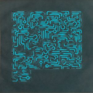 Pitongrammes n°46 - 360° - Colorant sur papier - (40x40) - Œuvre unique - 2007