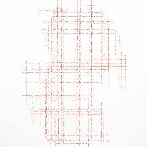 Cordeau à l'encre sur papier Canson - (50x65) - Œuvre unique