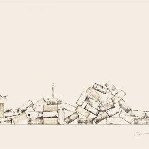 Des haut et des bas - Colorant sur carton bois - (80x120) - Unique - 2008