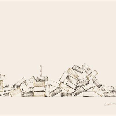Des haut et des bas - Dromo Man -Colorant sur carton bois - 80x120cm - 2008