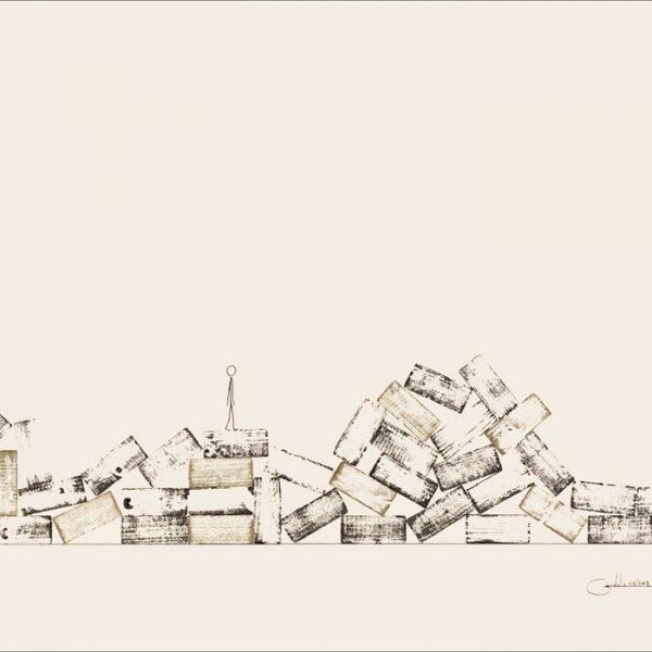 Des haut et des bas - Colorant sur carton bois - (80x120) - Œuvre unique - 2008
