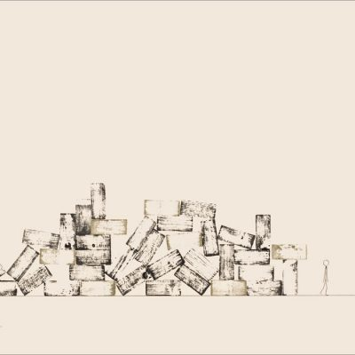Tout est dans la tête - Dromo Man -Colorant sur carton bois - 80x120cm - 2008