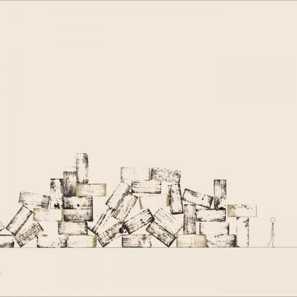 Tout est dans la tête - Colorant sur carton bois - (80x120) - Œuvre unique - 2008