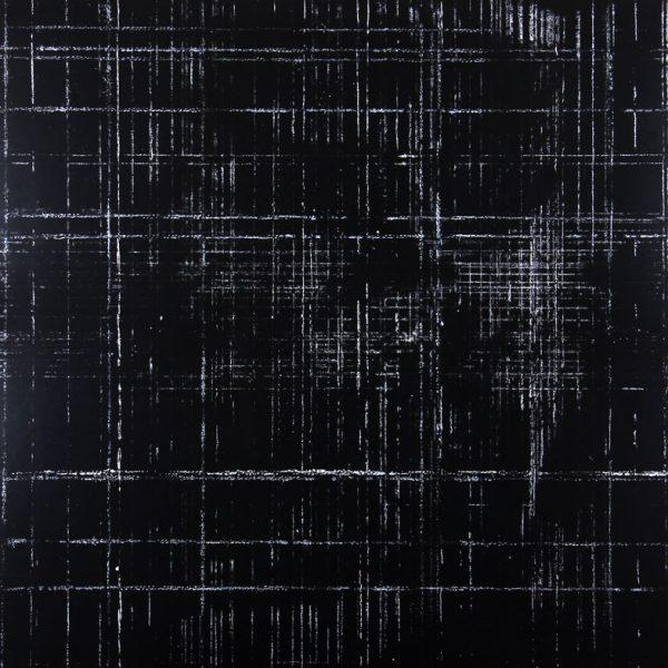 Résidu noir 2 - Acrylique sur carton bois - (80x80) - Œuvre unique