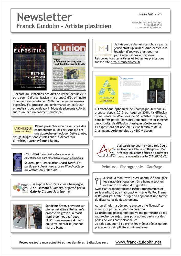 Newsletter Franck Guidolin