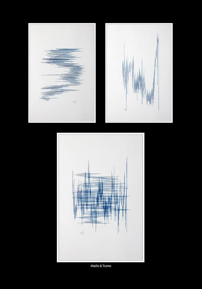 Triptyque Maille et Trame. Travail à la plume et à l'encre bleu sur papier.