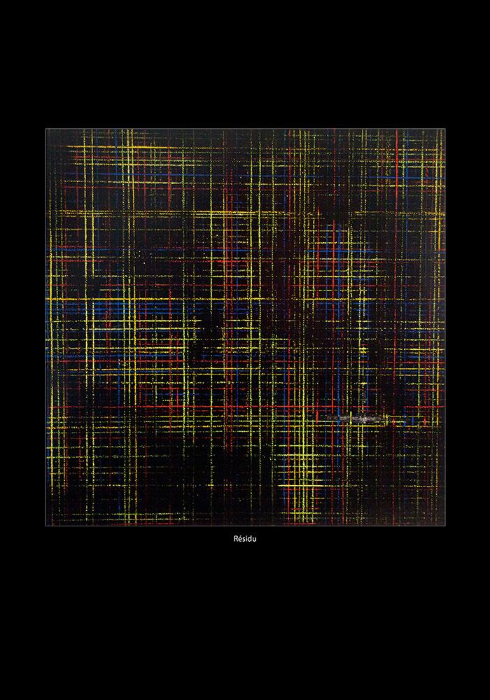 Tableau de la série : Maille, Trame et Résidu. Lignes verticales et horizontales réalisées aux cordeaux et à la peinture.